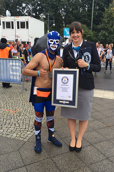 Fastest marathon dressed as a lucha libre wrestler