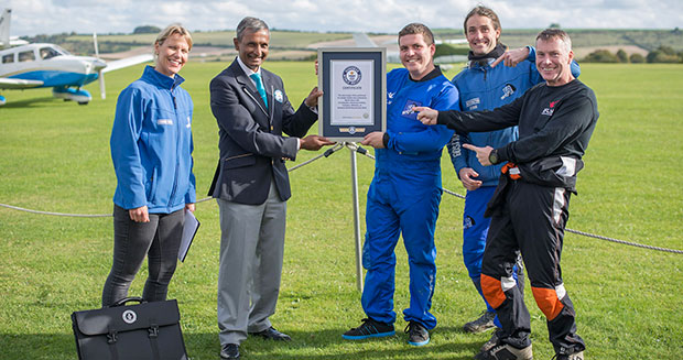 Most magic tricks performed on a single skydive certificate presentation